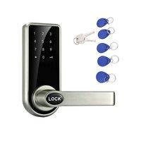 Senha eletrônica esperta do fechamento da porta do tela táctil  4 cartões  2 chaves  fechadura keyless do parafuso da trava do cartão da identificação do código digital