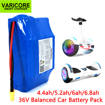 VariCore 36V 4.4Ah 5.2Ah 6Ah 6.8Ah 18650 lithium battery pack for electric self balancing scooter hoverboard unicycle Fits self balancing electric unicycle scooter black eu plug