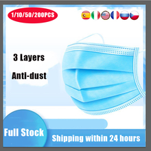 50pcs Disposable Mouth Mask Earloop Face Mouth Facial safety Cover Antibacterial 3 Layers Ear Loop Mascarillas