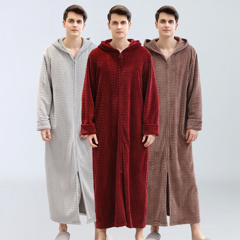 Men Bathrobe Plus Fertilizer To Increase Home Service Winter Flannel Pajamas Plus Velvet Zipper Hooded Bathrobe Men's Nightgown