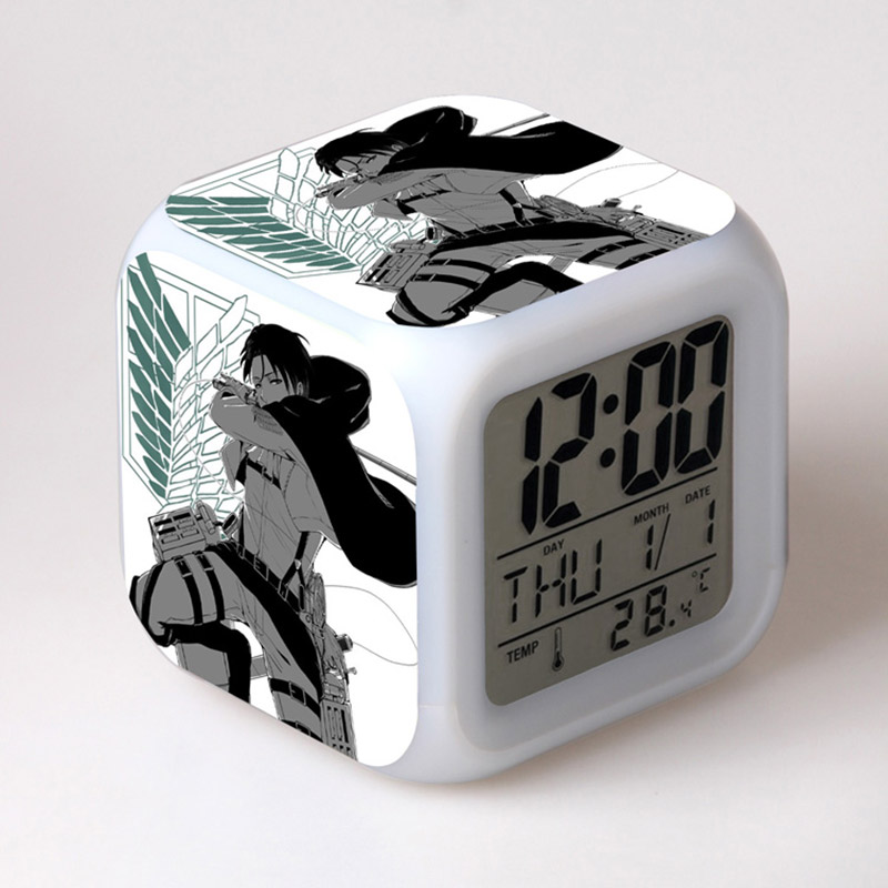 Amime Attack On Titan Figma LED Alarm Clock Colorful Changing Touch Light Thermometer Toys
