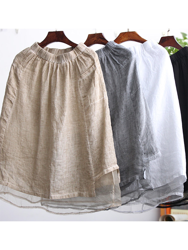 Skirt New Retro Kawaii Mesh Cotton and Linen Wide Long Paragraph Wild Linen White A-line Vintage Solid Knee-length Skirt