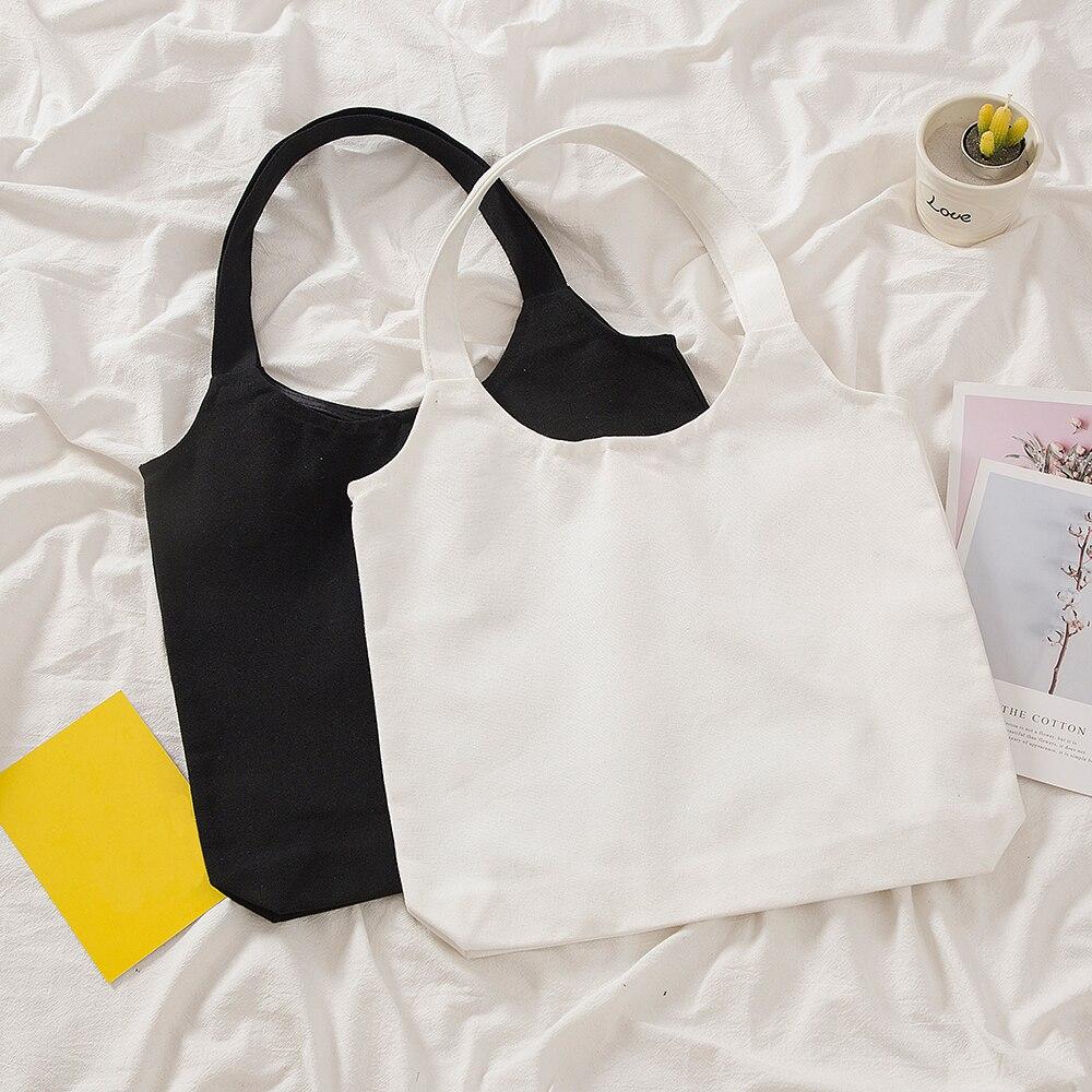 Однотонная холщовая сумка-шоппер для женщин, винтажный Повседневный тоут на плечо для девушек, элегантная женская сумочка, экологически чи...