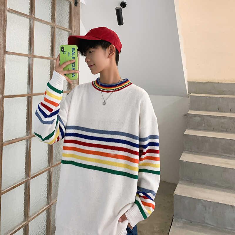 레인보우 스트라이프 남성 스웨터 소년 한국어 가을 느슨한 학생 ins 포트 바람 작은 신선한 트렌드 니트 레인보우 스트라이프 남성 스웨터