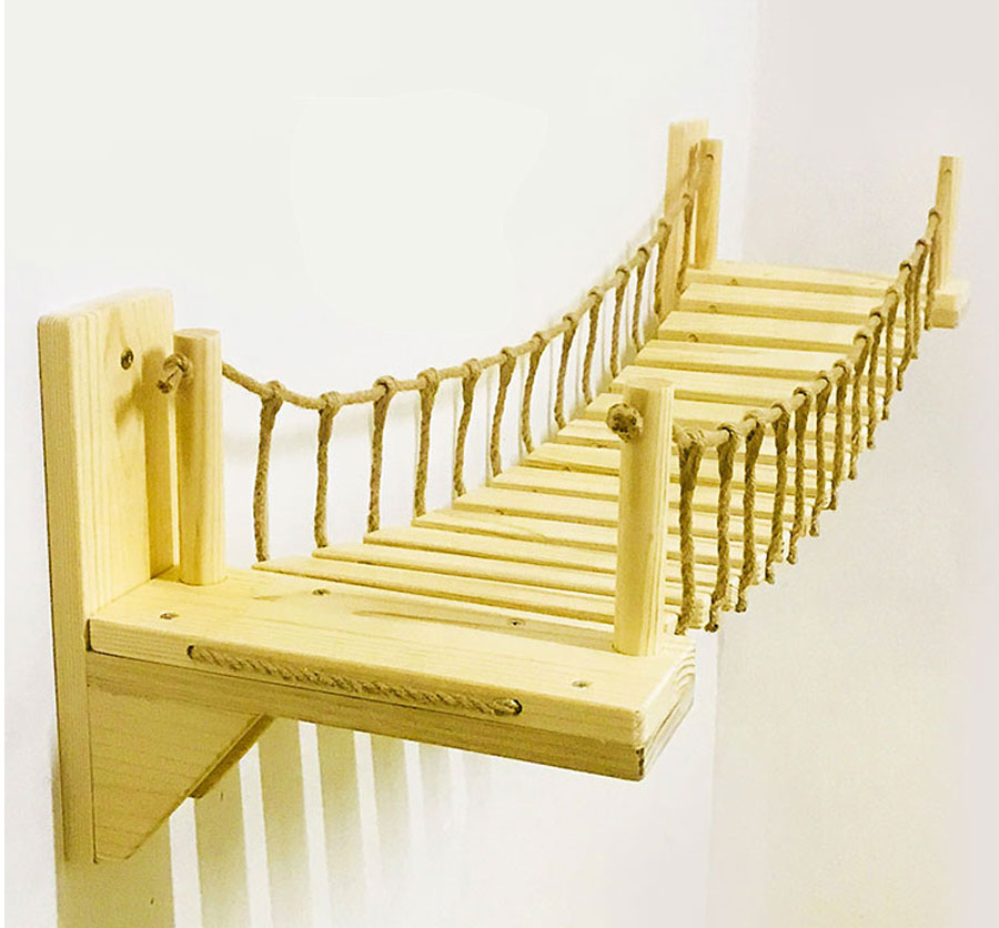 Roped <font><b>Cat</b></font> Bridge Climbing Wall Wood <font><b>Pet</b></font> <font><b>Cat</b></font> <font><b>Tree</b></font> <font><b>Tower</b></font> House Claw Scratch Cattery Sisal Scratching Post Jumping <font><b>Pet</b></font> Furniture image