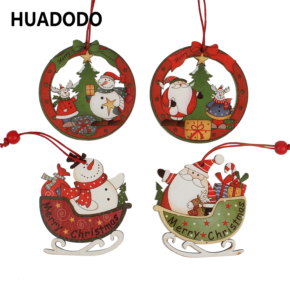 HUADODO 4Pcs Creative Santa Clause& Snowman Wooden Christmas Pendants Ornament For Christmas Tree Ornaments Decoration Kids Toys