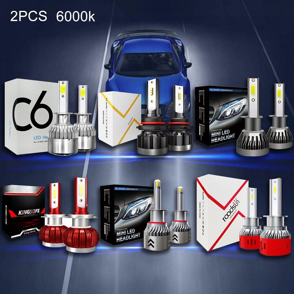 2PC 6000K H7 Led Car HeadLights Bulbs H1 H3 H4 H7 H8 HB2 HB3 HB4 9005 9006 LED CSP Chip Auto Car Headlight Bulbs  3800LM-9600LM