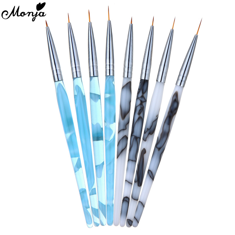 Monja 4 Pcs/Set Marble Pattern Handle Nail Art Liner Painting Brush French Stripes Lines Pattern DIY Drawing Pen Manicure Tools