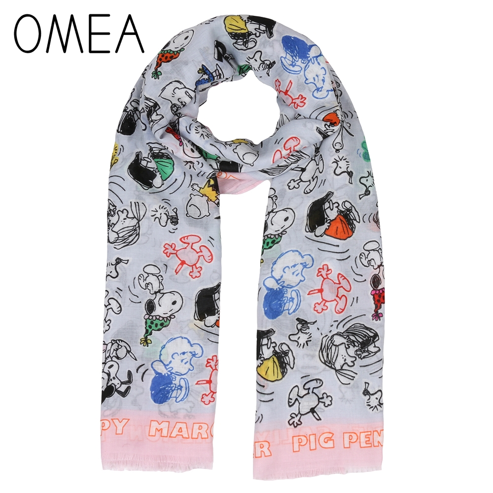 OMEA Spring Scarf Women Cartoon Dog Scarf Lovely Women Shawl Peanuts Long Scarf Autumn Bandana Infinite Scarf UV-proof Silk Wrap