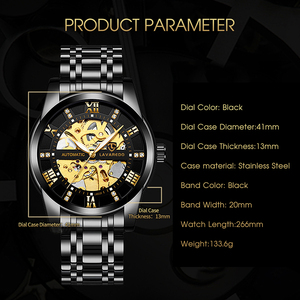 Image 4 - Lavaredo Stainless Steel Classic Series Transparent  Movement Steampunk Men Mechanical Skeleton Watches Top Brand Luxury A5
