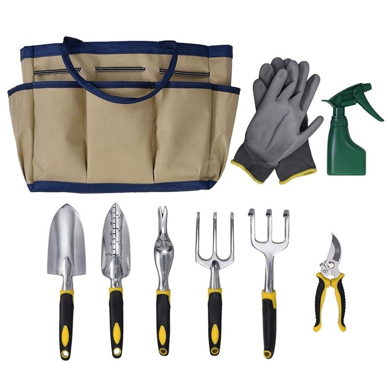Набор садовых инструментов из 9 предметов включает садовую сумку и 6x ручные инструменты