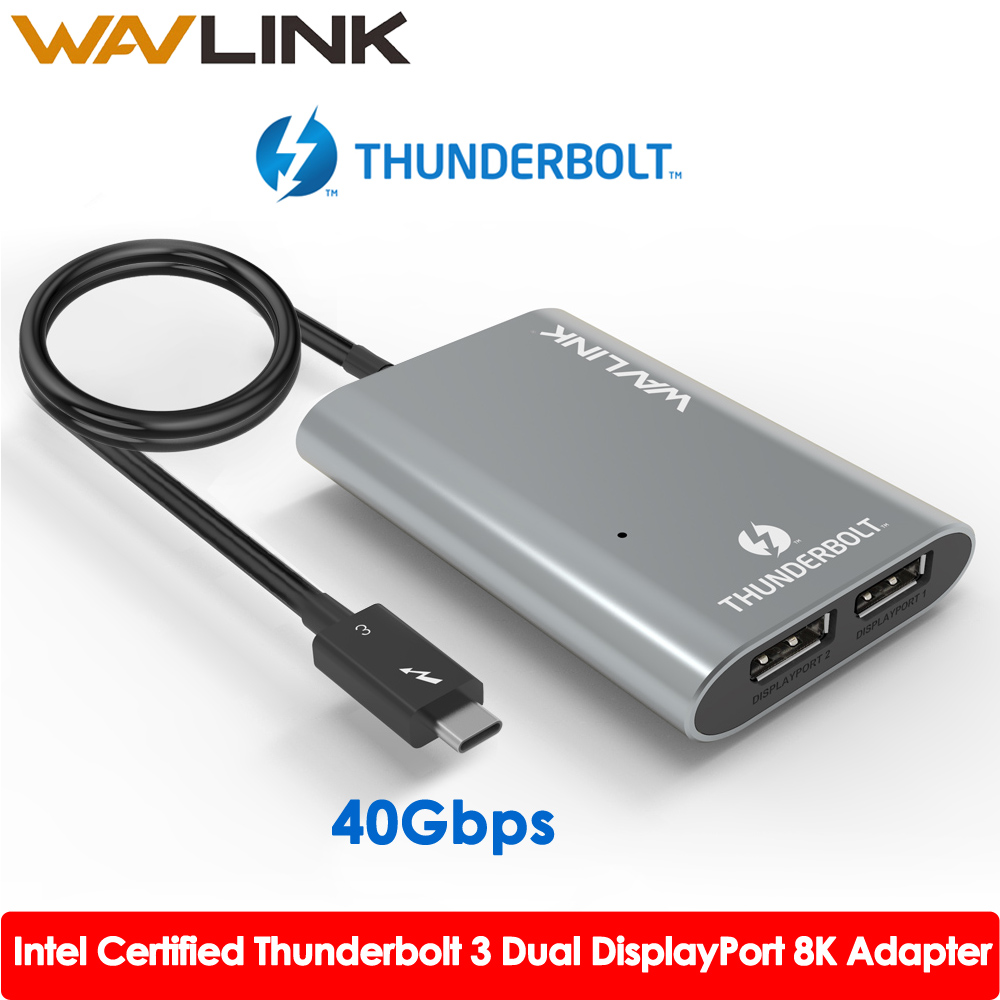 Intel Certified Thunderbolt 3 Type C USB3.1 Dual DisplayPort Up To 8K Super Speed USB Hub Adapter For Laptop/Desktop Wavlink