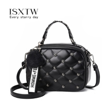 ISXTW Bags For Women 2019 New Fashion Rivet Diagonal Package Hairball Shoulder Bag Chain Casual Crossbody  Black/A51