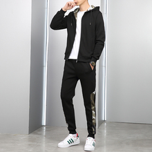 真新しい男性セットファッション秋春スポーツスーツトレーナー + スウェットパンツ紳士服 2 個セットスリムトラックスーツ