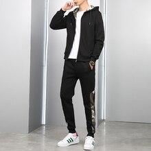 Yepyeni Erkek Setleri Moda Sonbahar Bahar Spor Suit Kazak + Sweatpants erkek giyim 2 Adet Setleri Ince Eşofman