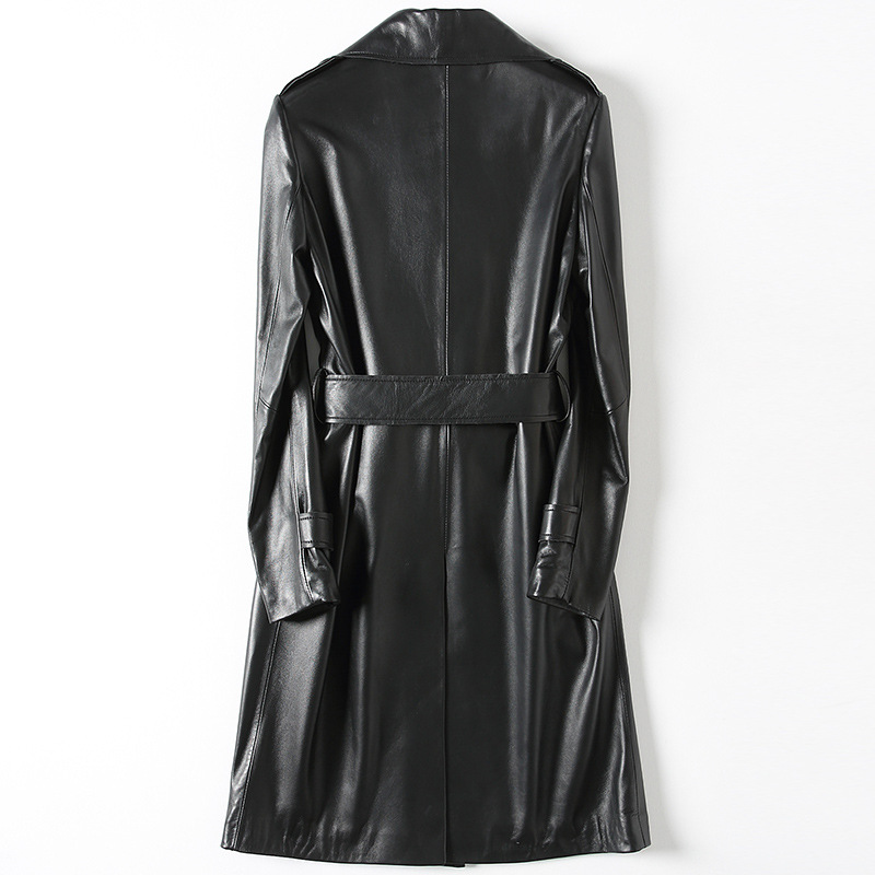 Long Slim Turn-down Collar Black Sheepskin Genuine Leather Autumn Spring Women Classic Leather Coat with Sashes Pockets