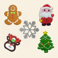 Baby Silicone Teethers BPA Free Teething Toy Christmas Tree Santa Claus Snowflake Baby Teether Silicone Beads DIY Chain