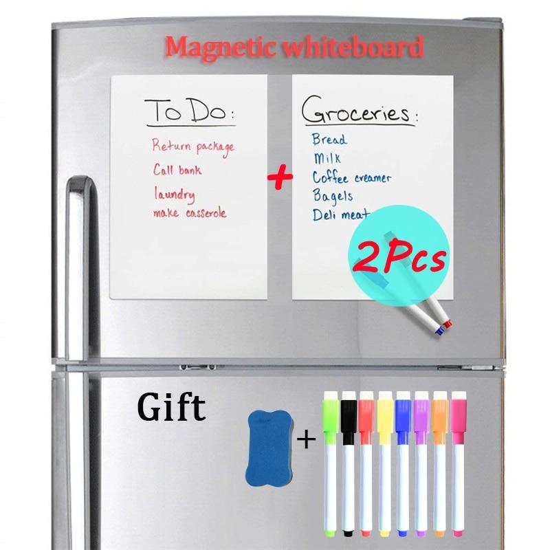 2PCS A4 Size Magnetic Whiteboard Fridge Stickers Dry Erase Whiteboard Office School Supplies Bulletin Message Board Wall Board