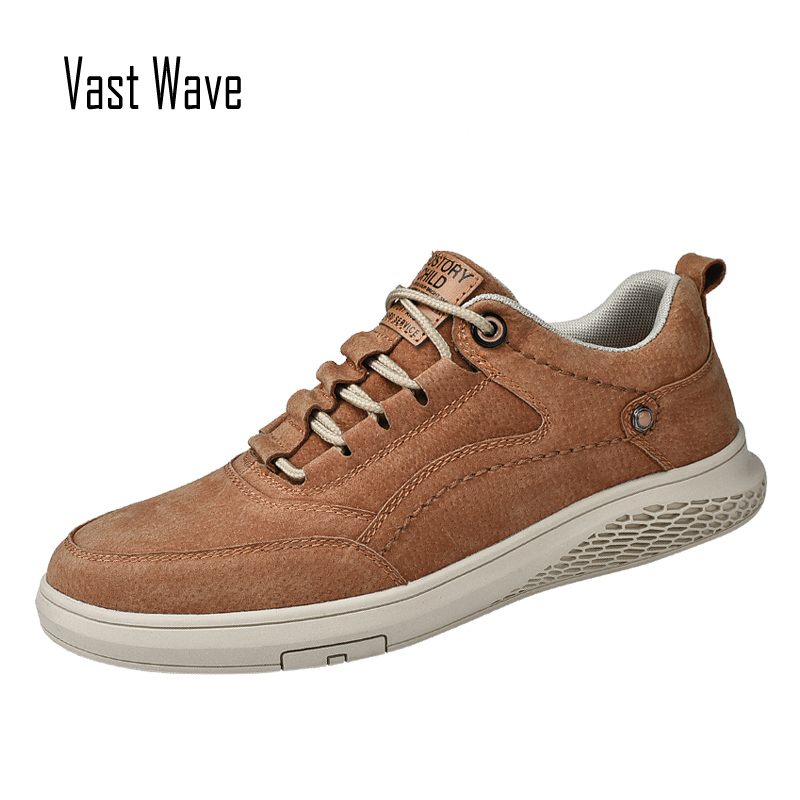Shoes Pig-Skin-Leather Canvas Male Mens Luxury Slip Man Rubber for Resistent Vastwave