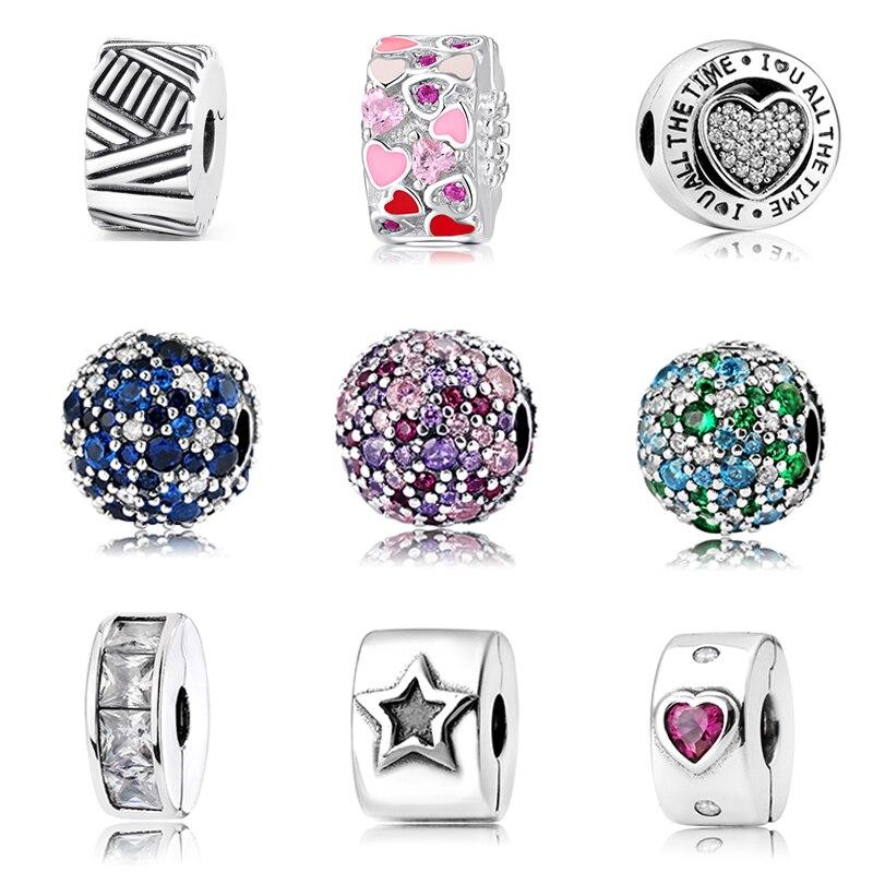 2019 mode breloques Clips ronds serrure perles réel 925 argent Sterling perle ajustement Original pandora Bracelet bracelets fabrication de bijoux