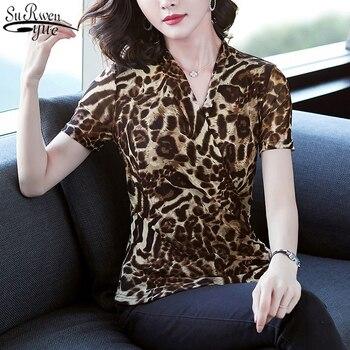 ¡Novedad De 2020! Blusa cruzada con estampado De leopardo para Mujer, blusa a la moda con cuello en V y manga corta, Top De oficina para Mujer, Ropa De Mujer 10138