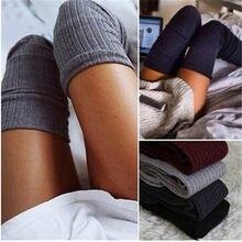 1 par de cores sólidas malha sexy meia mulher quente coxa alta sobre o joelho meias moda senhoras meias