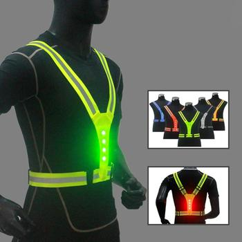 Elastic LED Cycling Vest Adjustable Visibility Reflective Vest Gear Stripes Night Sports Safety Cycling Reflective Belt Riding reflective cycling wristbands security leggings road cycling beam waist belt cycling equipment 31cm 4 9cm good elastic ribbon page 3