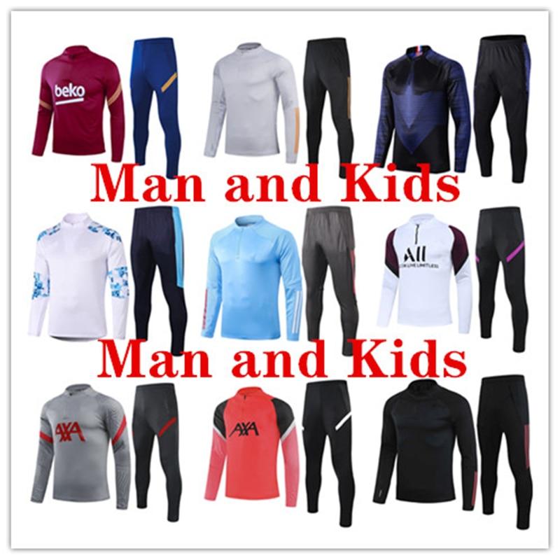 Football-Training-Suit-Set Sportswear Fitness Running-Track Field Men/children And
