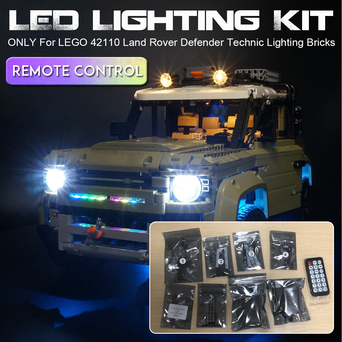 LED Light Lighting Kit ONLY For LEGO 42110 Technic Land Rover Defender Car Toys