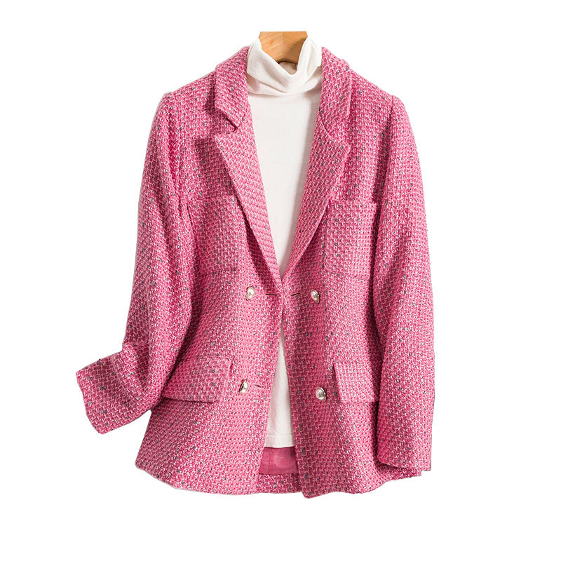 Women Blazers Autumn New Fashion Korean Version Of Slim-Fit Double-breasted Plain Tweed Woman Suit Jacket