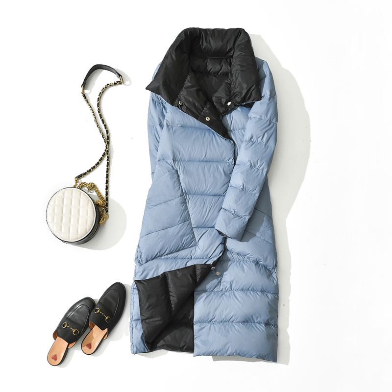 Women Double Sided Down Long Jacket Winter Turtleneck White Duck Down Coat Double Breasted Warm Parkas Outwear