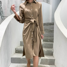 купить 2019 Autumn New Shirt Dress Female Long-sleeved Cotton Fashion Casual Wild Women Dress Solid Color Women Clothing по цене 1475.22 рублей