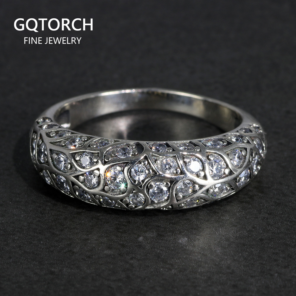 Real Pure 925 Sterling Silver Luxury Design Rings For Women Elegant Inlaid Zircon Stone Vintage Flowers Thai Silver Jewelry