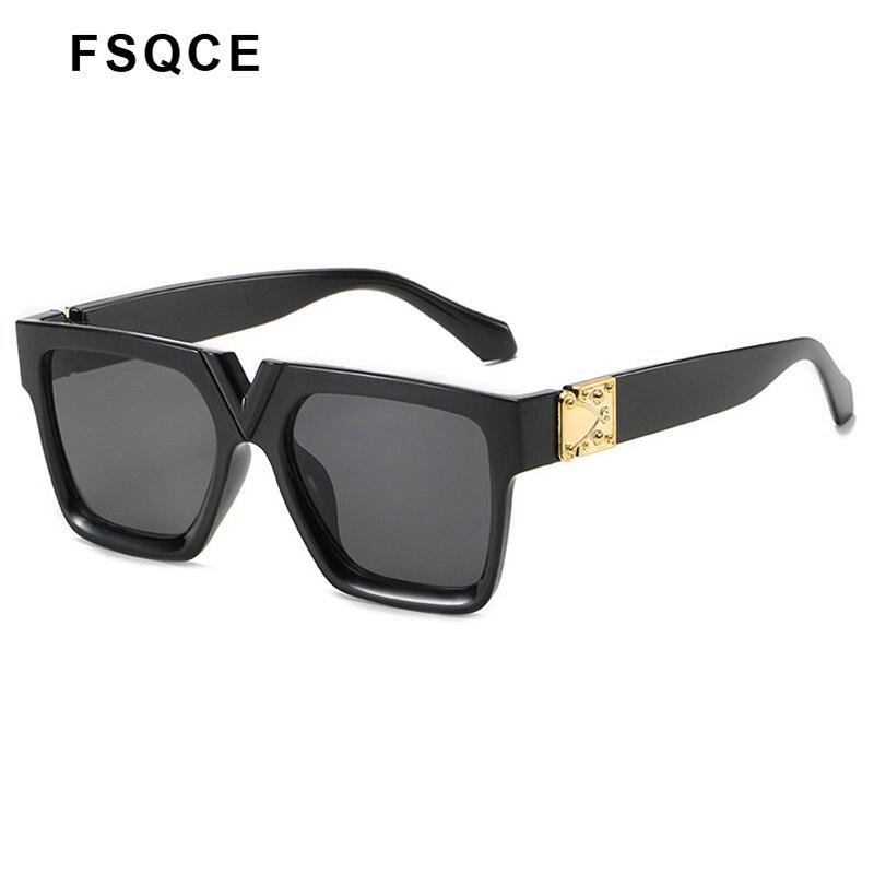 FSQCE-lunettes de soleil carrées UV400 pour femmes, grande monture, décoration métallique, monture à la mode, nouvelle collection 2020