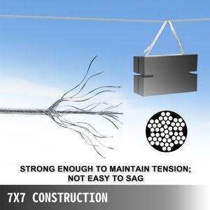 Image 3 - 1/8in × 500ftステンレス鋼ケーブル手すり7 × 7ストランド施工デッキレール手摺階段手すりポーチフェンスワイヤーロープ