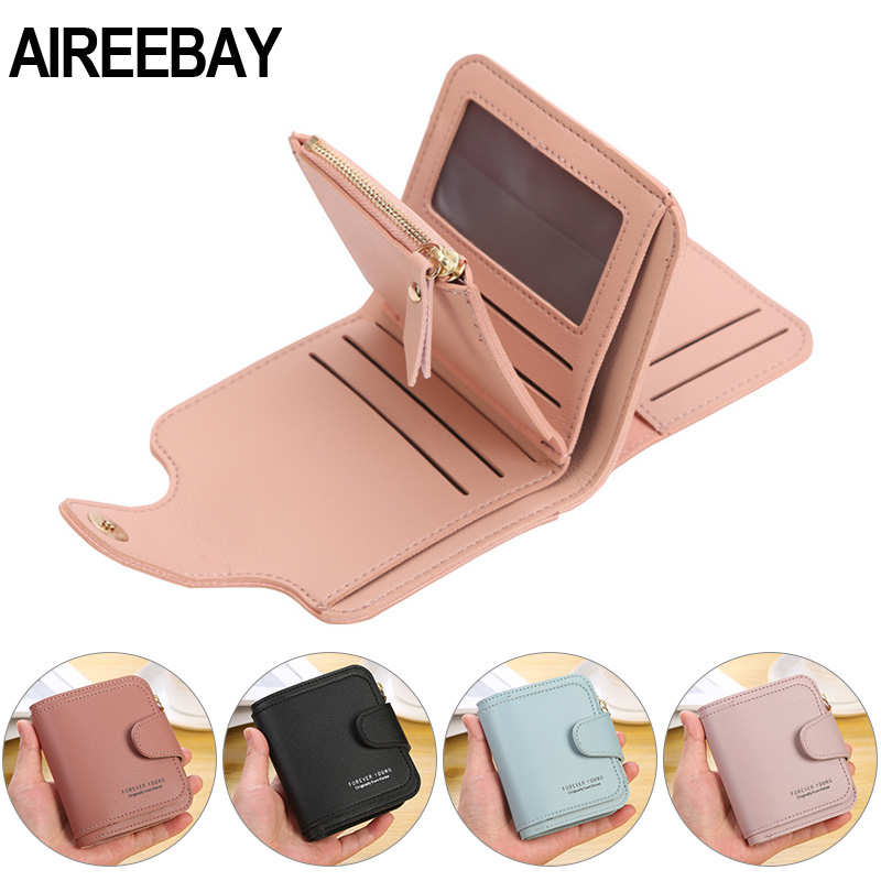 AIREEBAY New Women Leather Short Wallet Coin Purse Pink Wallet For Girls Money Pockets Card Holder Korean Style Wallet Bags