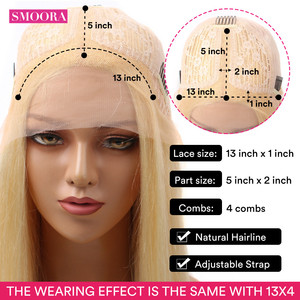 Image 3 - 613 Blonde Deep Middle Part Lace Front Wigs 13*1 Peruvian Remy Lace Frontal Wigs Human Hair Straight Peruque For Female