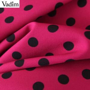 Image 4 - Vadim frauen chic tupfen lange kleid langarm fliege schärpen weibliche büro tragen stilvolle chic kleider vestidos QD132