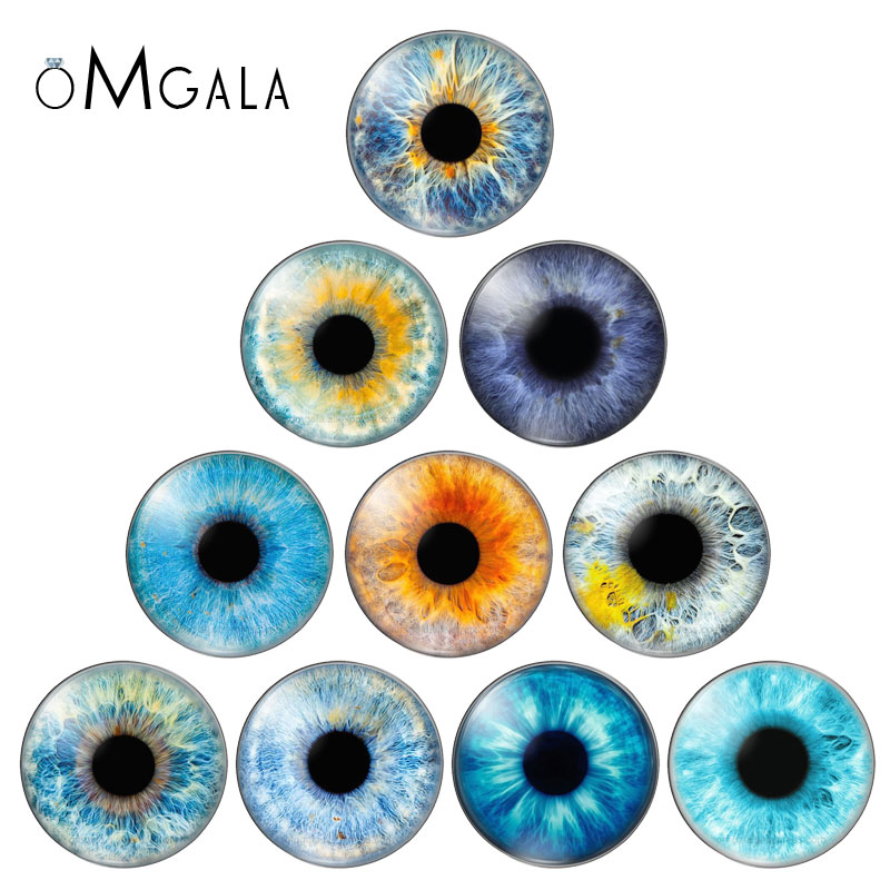 In Pairs Mixed with 8mm 10mm12mm 18mm 20mm 25mm Round Dragon Eyes Glass Cabochon Flatback Photo Cameo DIY Accessories 10pcs/lot