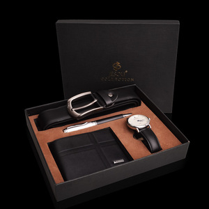 Часы с кожаным ремешком и бумажником, кварцевые наручные часы, водонепроницаемые