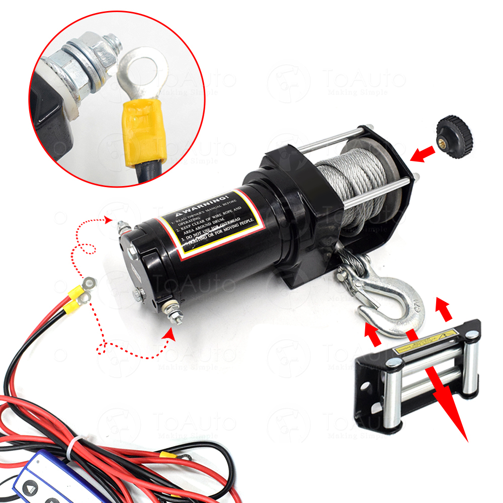 Car Winch-2500-4500lbs Self-Help Electric Beach for Rescue Snow-Swamp Desert Harsh-Environment
