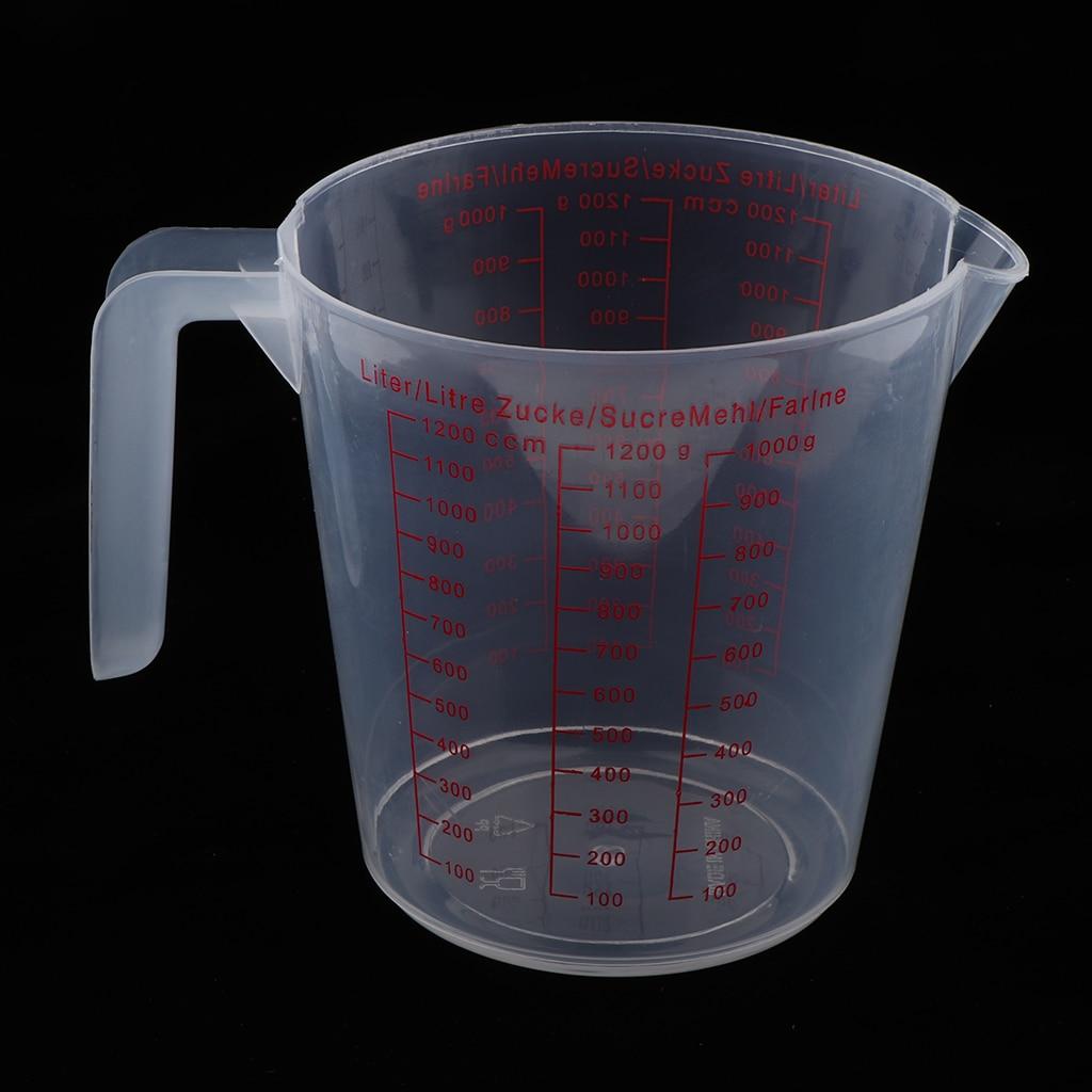 1200ML PLASTIC MEASURING CUP CLEAR SCALE TRANSPARENT MUG HOME KITCHEN GADGET