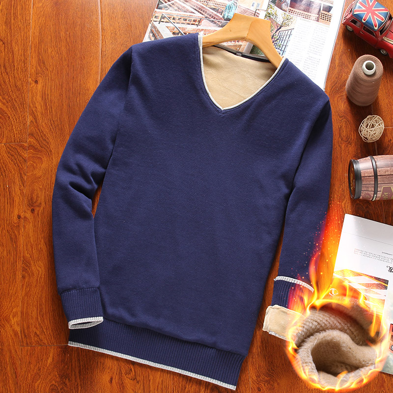 Autumn Winter Men's Cotton Sweater Fashion V-neck Solid Color Flannel Warm Thick Long-sleeved Sweater