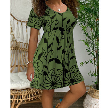 2020 New Summer Dresses Women Casual Short Sleeve O-Neck Print A-line Dress Large Size Streetwear Sundress Loose Dress Vestidos - Myh006 Army Green, XXXL