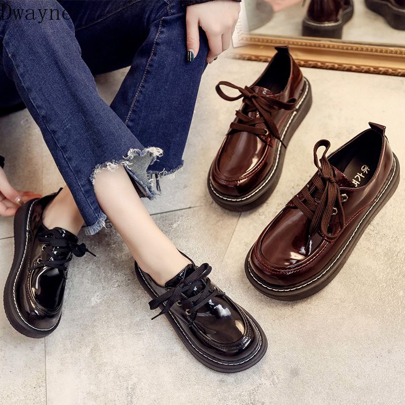 2019 New Hot Korean Fashion Retro Student Flat Shoes Thick Bottom Wild College Wind England Shoes Trend Comfortable Flat Shoes