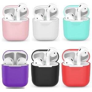 Image 1 - 1 шт. силиконовые Bluetooth беспроводные наушники чехол для AirPods наушники Чехлы для Apple для AirPods зарядная коробка без наушников