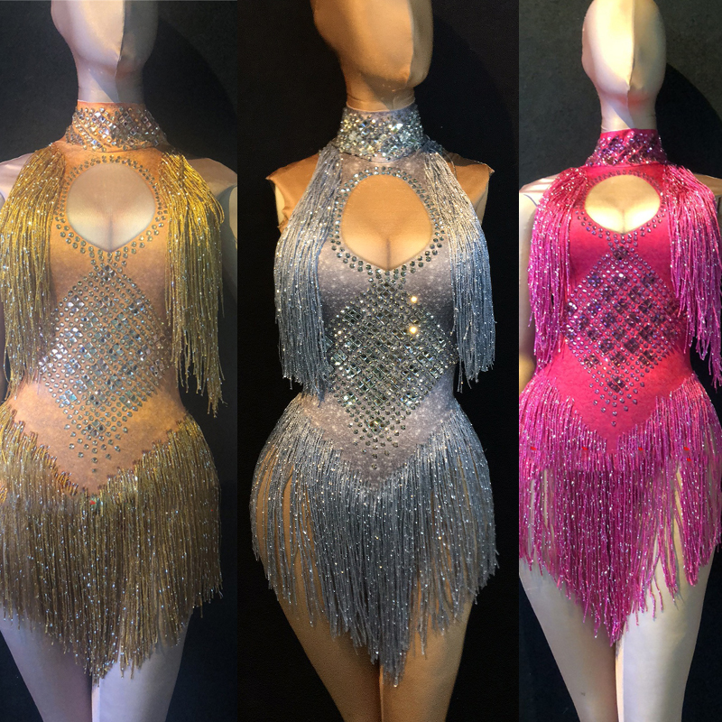 New Beyonce Women Nightclub Jumpsuit Spandex Elastic Silver Fringe Dress Gogo Dancer Costume Performance Costume Women BL2125