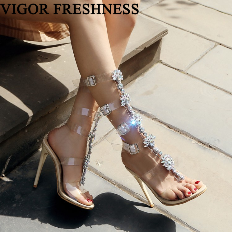 VIGOR FRESHNESS Woman Summer Sandals 10CM 12CM Heels Shoes Women Sandals Stone Gladiator Shoes Crystal Sizes 48 49 50 MY544