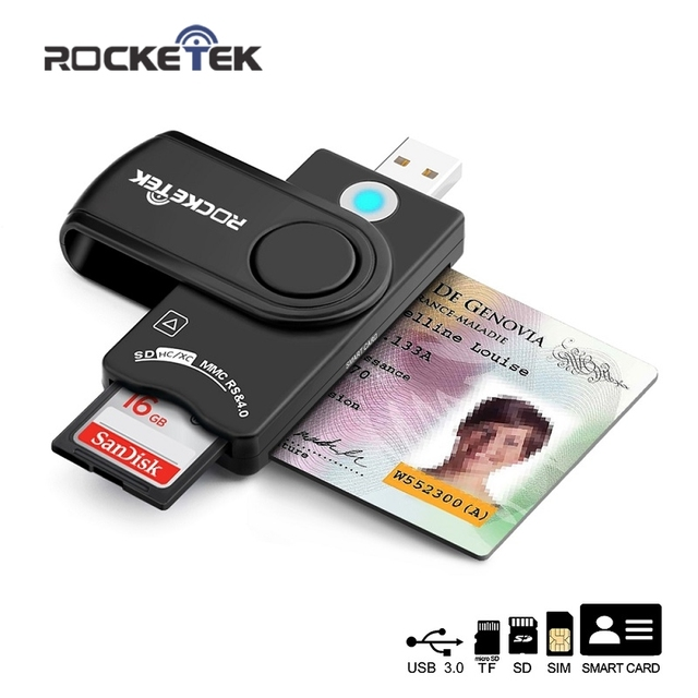 Rocketek USB 3.0 2.0 Smart Card Reader micro SD/TF memory ID Bank EMV electronic DNIE dni citizen sim cloner connector adapter