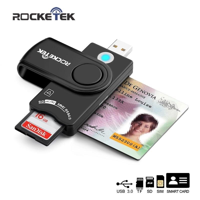 Rocketek USB 3.0 2.0 multi Smart Card Reader SD/TF micro SD memory ,ID,Bank card,sim cloner connector adapter pccomputer